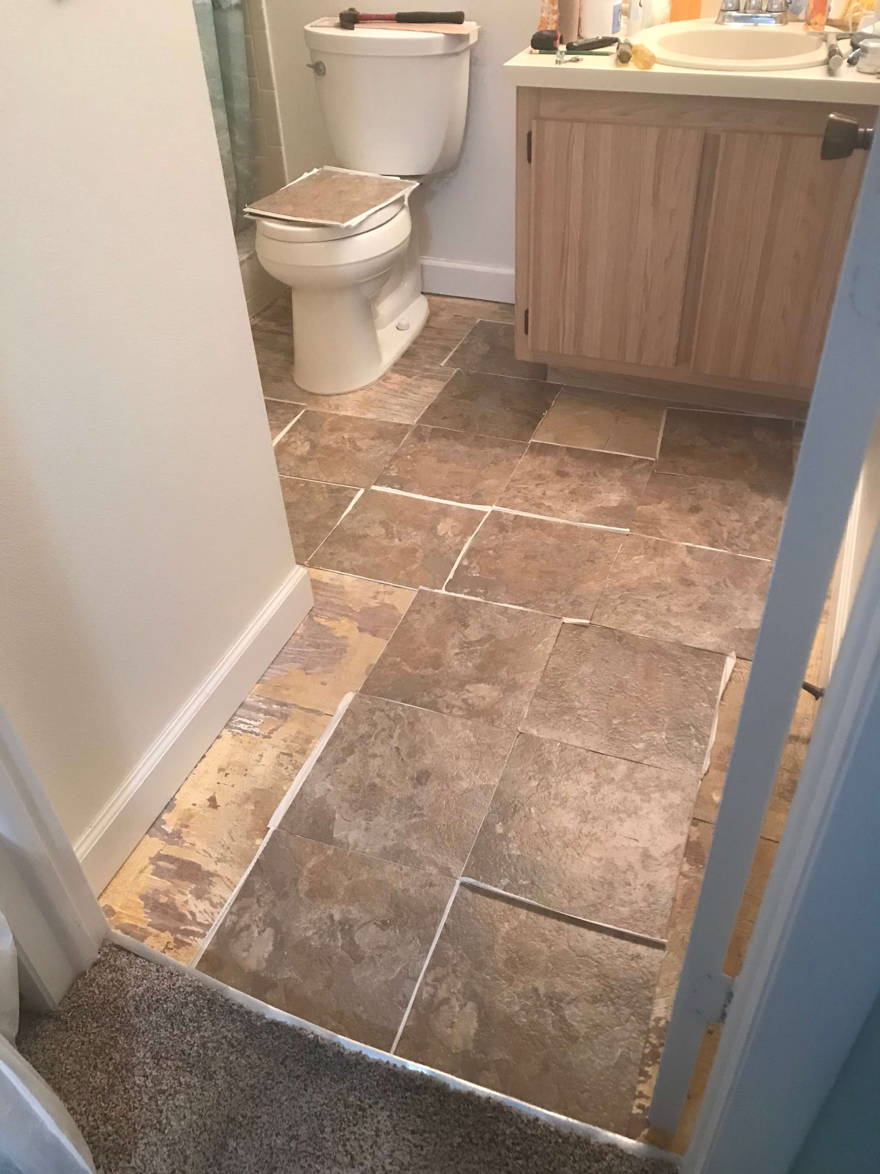 Installing Peel-and-stick Vinyl Tile In Bathroom